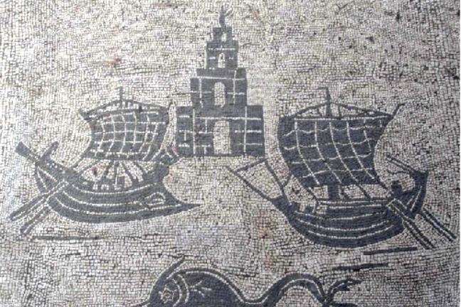 Mosaic at Ostia showing the Pharos