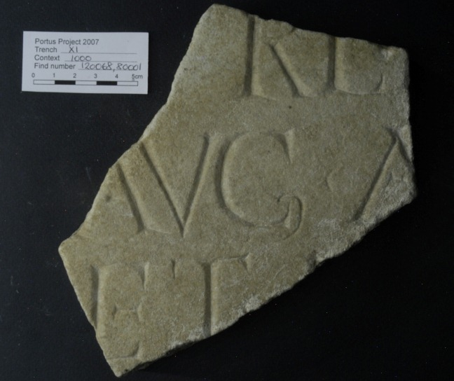 Fragment of inscription found in our excavations at Portus