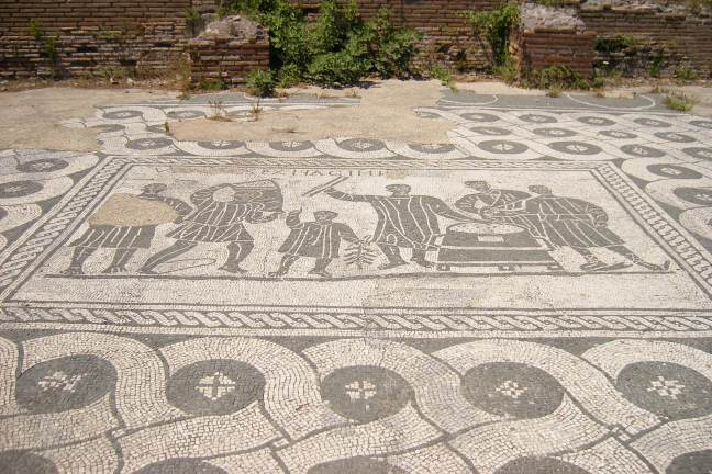 Mosaic showing officials carrying and measuring grain from the Horrea of the Mensores at Ostia