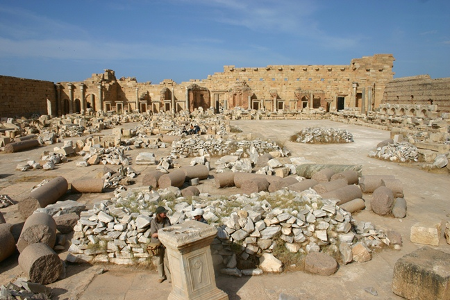A view across the Severan forum at Leptis Magna in Tripolitania (Libya), built by the Emperor Septimius Severus, who was also responsible for a major programme of building at Portus. Olive oil from Tripolitania was imported to Portus on a large scale in the later 2nd to early 3rd c AD