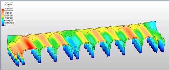Structural analysis of hypothetical concrete barrel vaulting of Building Five, showing potential areas of weakness