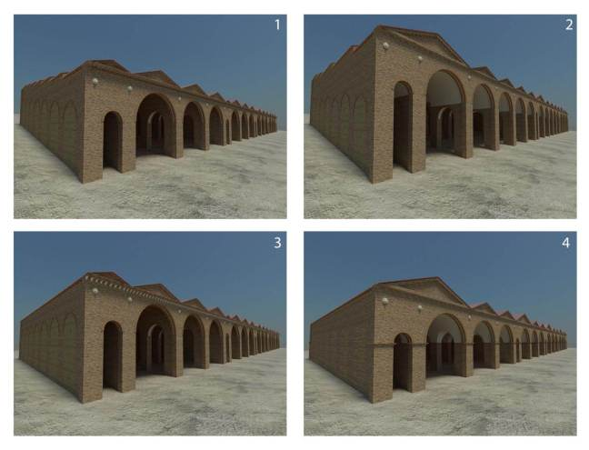 Computer generated simulation of four hypothetical reconstructions of Building Five, based on available information