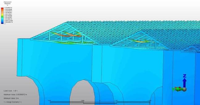 Structural analysis of hypothetical timber roofing of building five, showing potential areas of weakness
