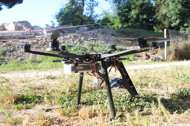 DJI Innovations Spreading Wings S800 drone used to capture aerial photographs at Portus
