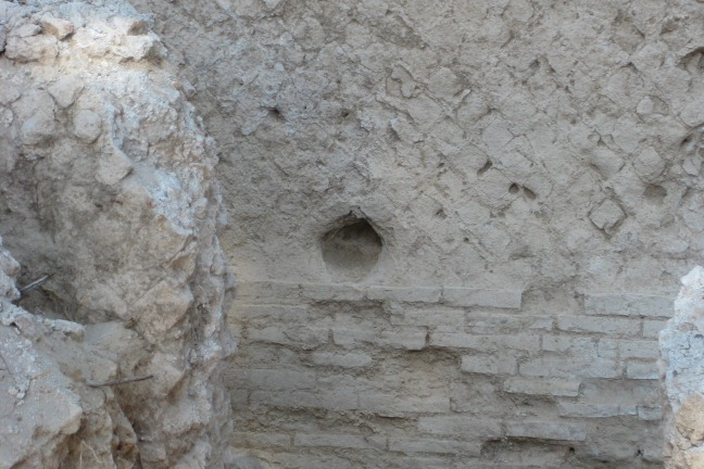 Putlog hole in a wall of Building 5