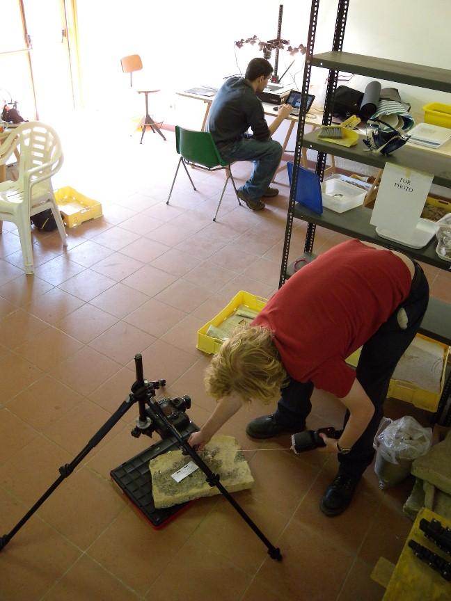 Ian capturing a brick stamp using the Highlight RTI method