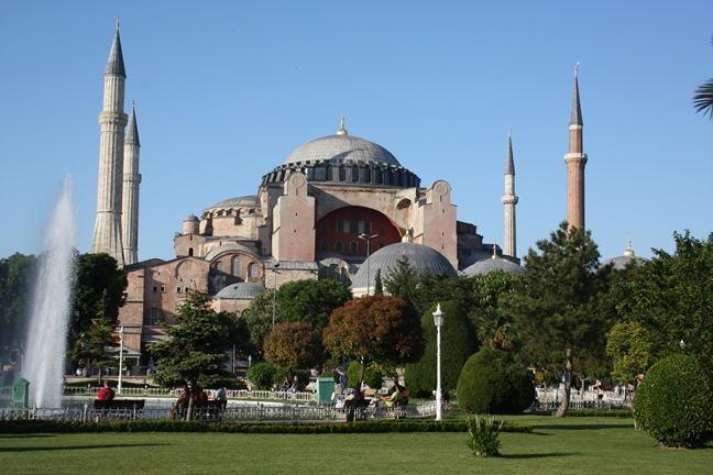 The Church of Hagia Sophia (Holy Wisdom) in Istanbul (Constantinople), which was converted into a mosque following the conquest of the city by the Turks in 1453