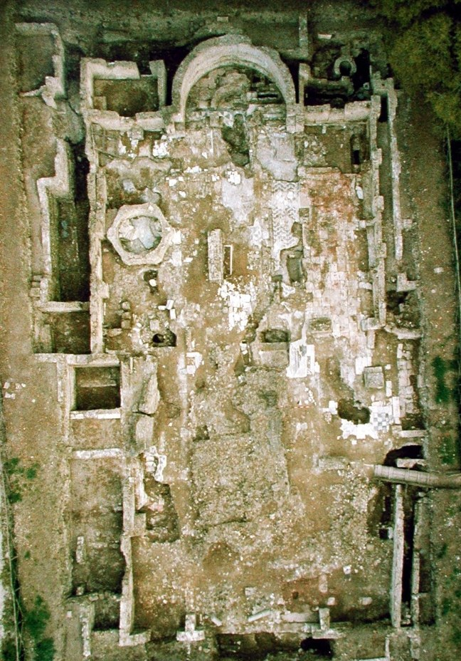 Aerial view of the Basilica Portuense during excavation