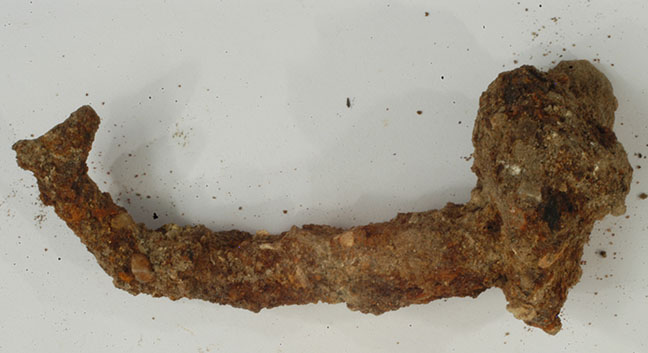 A corroded metal nail - sometimes the least attractive finds can be the most important for interpreting the site