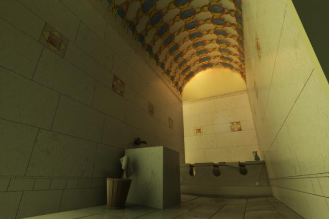 Ian's reconstruction of the latrine, which was based on the wide range of marble and other decorative materials found in this location