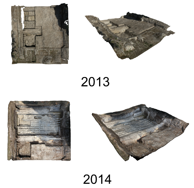 Comparison of the excavation of Bay 5.2 of the Navalia in 2013 and 2014, based on photogrammetry gathered via an aerial drone - James Miles