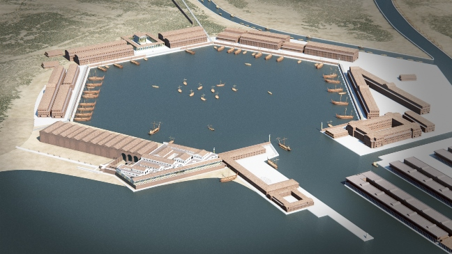 CGI overview of the site from Period 6 - Grant Cox; the model data for the Trajanic warehouses in the bottom right was provided by Remi Fabro and Evelyne Bukowiecki