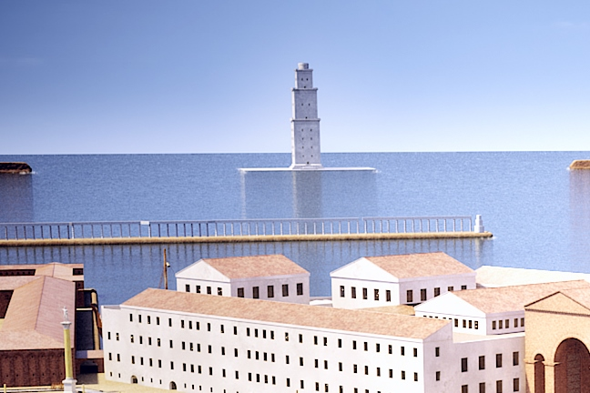 CGI view of the Pharos, the northern and southern moles, and the antemurale as they might have been in the time of Claudius; the foreground building relates to a later phase - Grant Cox