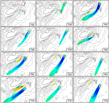 12 small images showing simulated velocity deficit when tidal turbines are installed at different locations around alderney
