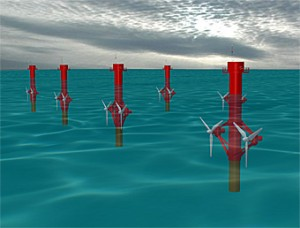 A possible array of marine current turbines.