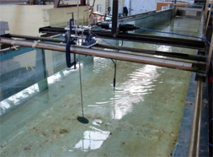 Fig. 4 - Photograph showing the layout in the 21m Civil Engineering flume.