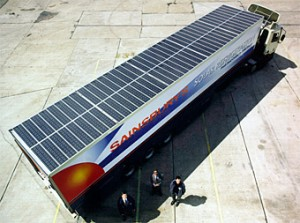 Fig. 1 - Sainsbury truck with solar powered refrigeration.